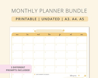 Undated Monthly Planner | Plain | Printable. Instant download | A3. A4. A5