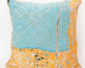 Newly Arrivals 50x50 Vintage Kantha Pillow Cover Handmade Vintage Cushion Cover Antique Kantha Throw Pillow Designer Trending Cushion Cover