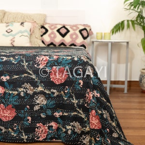 bedspread blanket natural tone coverlet,throw washable Printed Kantha Quilt King Size Bed sheet Indian Bed cover Quilt Kantha bedcover