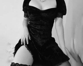 Gothic Vintage Lace Black Dress Goth Sexy High Waist Mini Dress Y2k 90s 2000s cute aesthetic Elegant A Line Dress Party Club Wear Grunge