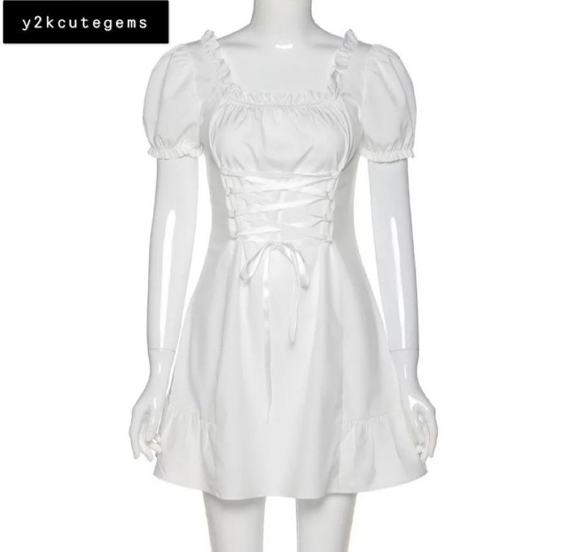 Y2k 2000s elegant white cute gypsy boho princess like dress e girl kawaii dress preppy