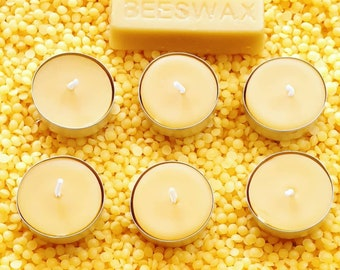 6 Pure Welsh Beeswax tealight candles special offer! Air purifying - natural candles