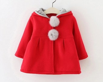 Gorgeous baby hooded coat with matching mittens Mittens have attached keeper. Hooded coat is super soft red and white with button closure