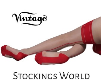"""Vintage Style Seamed Stockings Contrast Seamed Natural and Red  NEW """"The Burlesque"""""""