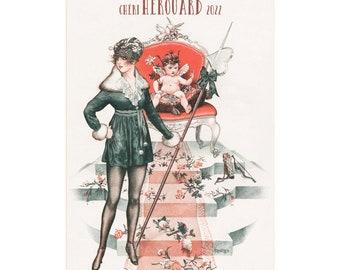 """Wall Calendar 2022 [12 pages 8""""x11""""] Cheri Herouard Girls La Vie Parisienne Vintage Art Deco Cover Posters Reprint M-641"""