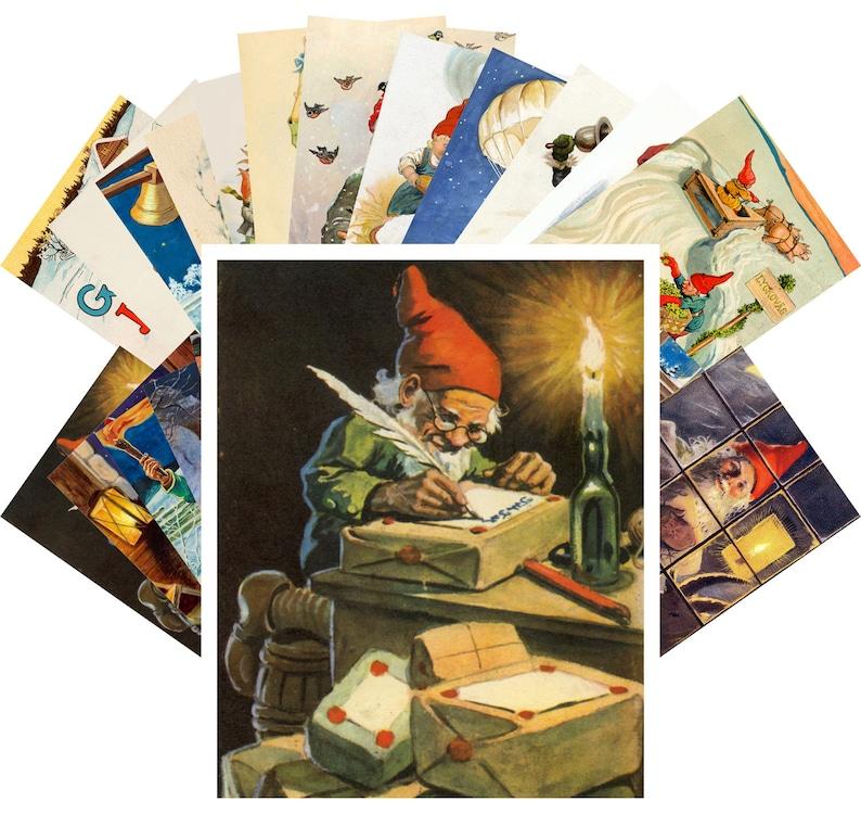 Postcard Set Vintage Christmas Dwarves by Jenny Nystrom CC-1117 24 cards