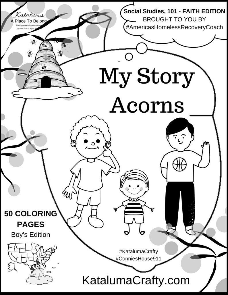 My Story Acorns  Story Book Coloring Pages Boy's Edition image 0