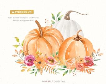 Watercolor Pumpkin Bouquet Decorative Design, Pumpkin Illustration, Floral Pumpkin Clipart, Autumn Pumpkins, Thanksgiving Decor Clipart PNG