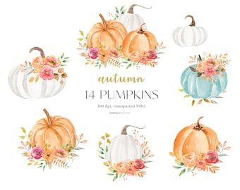 Watercolor Pumpkin Clipart, Autumn Pumpkins, Pumpkin Clip art, Fall Clipart, Pumpkin Illustration, Halloween, Watercolor Fall, Thanksgiving