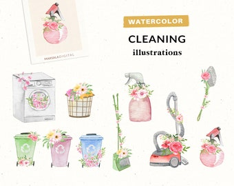 Watercolor Cleaning Cliparts, Household Chores, Chores Clipart, Housework Clipart, Planner Clipart, Cleaning Tools, Housework, Recycle Bin