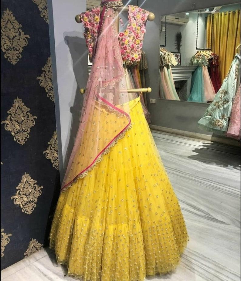 Ruffle Yellow Net Lehenga Lehenga choli designer lehenga Mehendi Lehenga Net Lehenga Sangeet lehenga