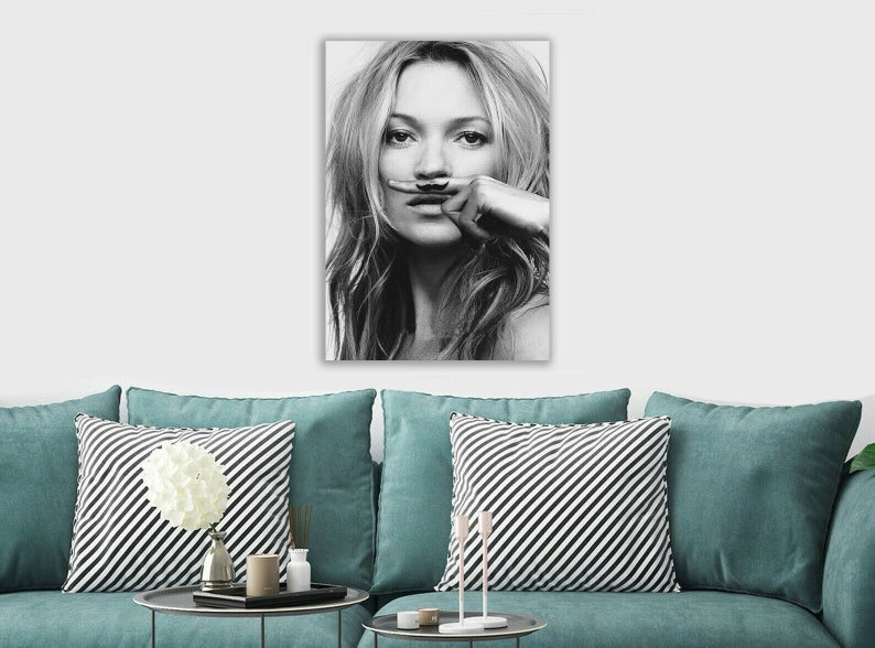 Various sizes Kate Moss Moustache Canvas Rolled Wall Art Print