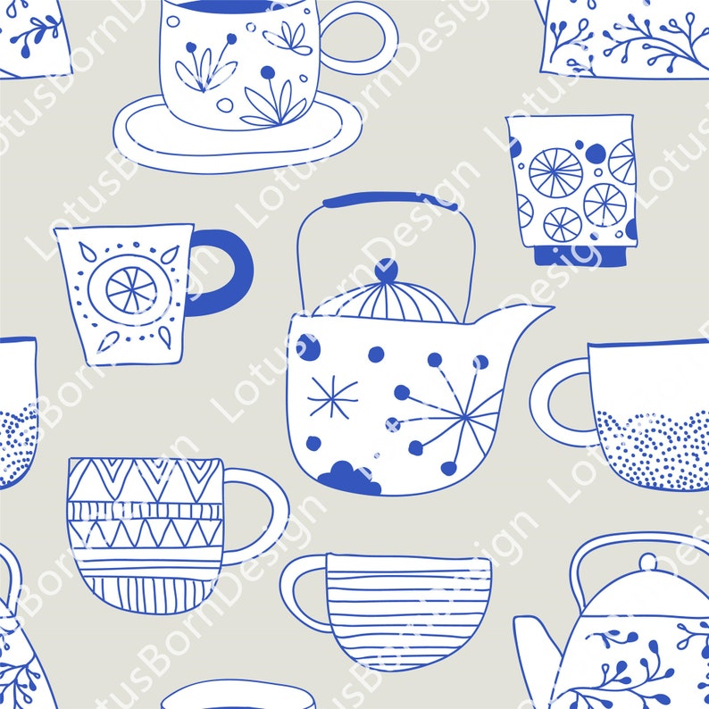Simple Blue Hand-painted Illustrations /& Icons,Flowers,Fish,Tableware,Card Background Pattern,Vector Design,5 Sets of PNGAIEPS Files