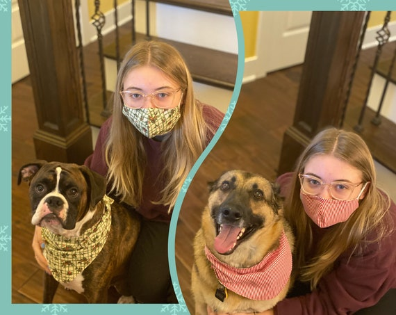 Pet bandana and pet owner face mask matching set
