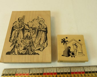 2 Holy Family Manger Large Traditional & Small Modern Rubber Stamps