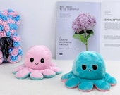 U.K High Quality REVERSIBLE OCTOPUS Plush. Double Sided Squid Gift For Birthdays, Next Day Delivery.