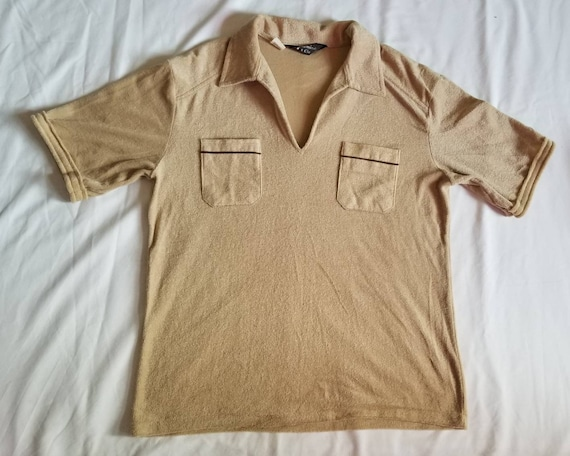 Men's Vintage Terrycloth Collared V-neck Top