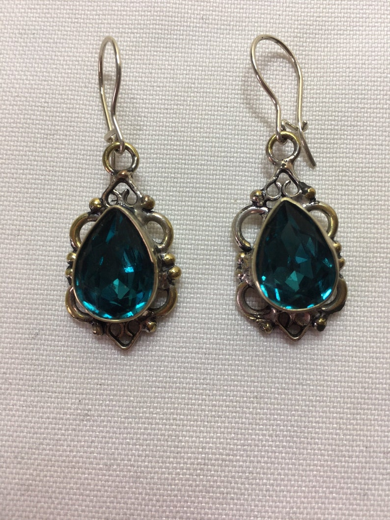 French wire Earrings Sterling Silver Handmade Faceted Blue Green Quartz