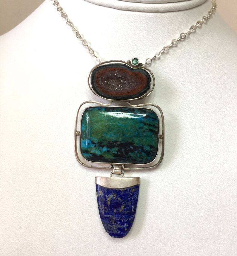 Druzy Agate and Lapis Natural Chrysocolla Faceted Emerald,\u00a0Sterling Silver Handmade Pin Pendant