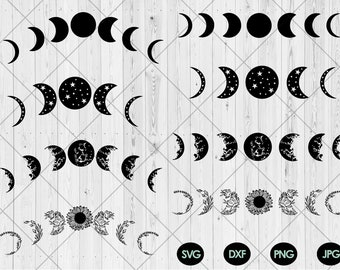 Moon phase svg bundle, Moon phase with star svg,dxf,png,jpg, Floral moon svg, Moon flowers svg, Full moon Half moon svg, Instant Download