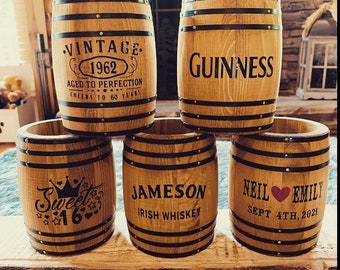 Personalized rustic mini whiskey / bourbon barrel decorations. Perfect birthday gifts, bar, weddings, wedding gifts, party, or anniversary
