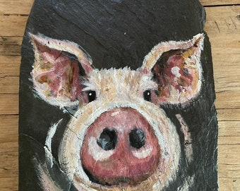 Hand painted pig on a slate