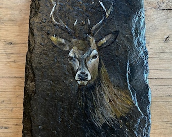 Hand painted stag on a slate