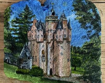 Hand painted slate of Craigievar Castle