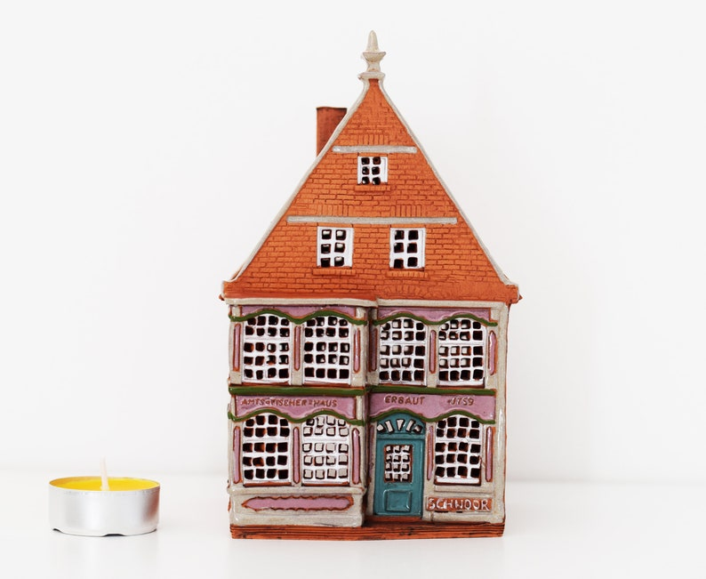 Real House Amtsfischerhaus in one of the oldest streets in Schnoor Germany Ceramic house tealight Bremen Ceramic candle house.