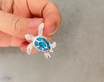 Turtle Pendant Sterling Silver Opal, Turtle Jewelry, Turtle Necklace, Turtle Gifts, Silver Turtle, Sea Turtle, Nautical Jewelry