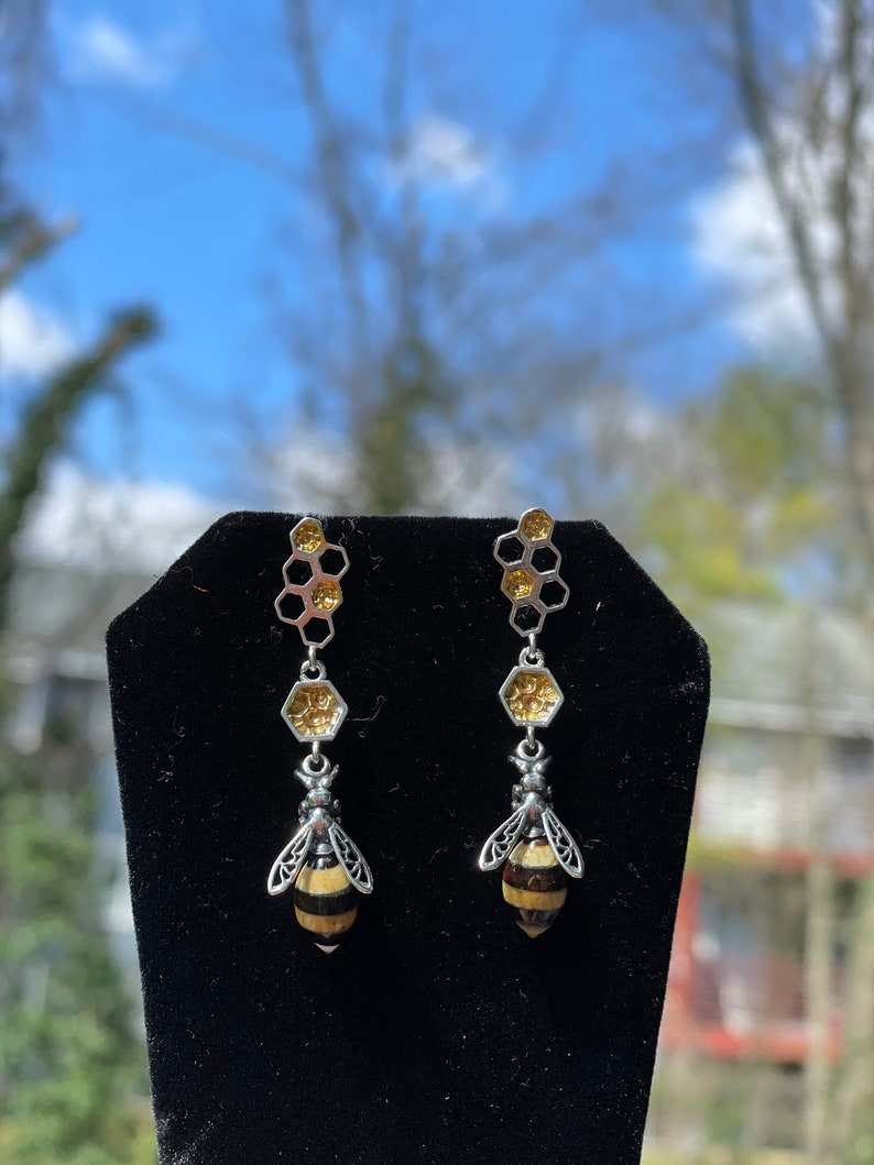 Earrings dangle Bee earrings Bee earrings in solid sterling silver set with Amber Earrings studs Bumble bee amber dangly post earrings