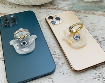 Cute Evil Eye Hamsa Phone Ring Stand Holder   Phone Ring Holder   Phone Finger Grip   Loop Finger Ring Stand   Gold or Silver