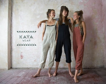 Dungarees Jumpsuit Boho Handmade Black Natural Rust Red Curry Blue Grey