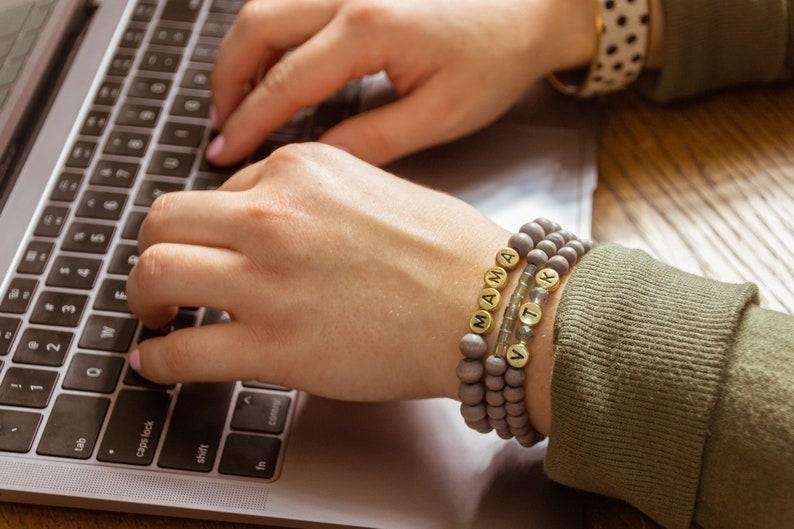 Custom Word Beaded Bracelets Stacked Sweetly Name Bracelet NEW! Personalized Custom Beaded Name Bracelets