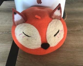 Christmas Gift /Handmade Fox  Beret /  Adjustable Vintage Wool Beret / Caramel color women hat / Women winter hat/  Kawaii Hat Women Gift