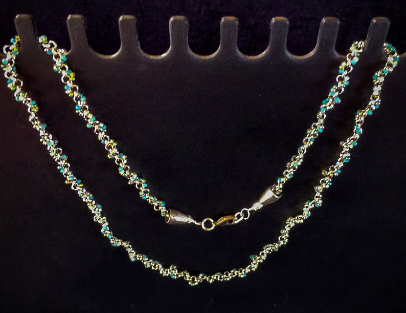 Silver Chain and Glass Beaded Necklace with Sterling Silver Caps /& Closure