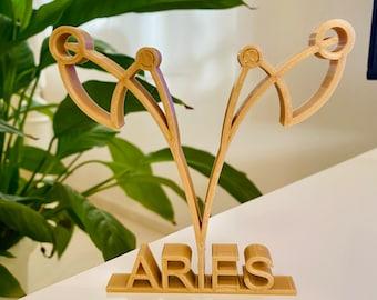 shelf sitter RAM free standing Zodiac symbol figure 3D printed Aries astrology tabletop gifts minimalist art sculpture home decor