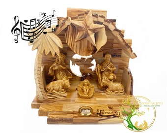 Handmade Olive Wood Musical Nativity Scene with Music Box & incense from The Holy Land -Holy Family Nativity set Christmas Gift for all ages