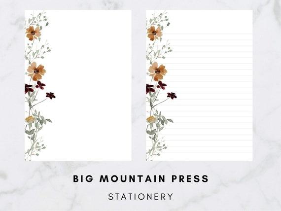 Elegant Floral Print Stationery  Greenery Sprigs  Letter