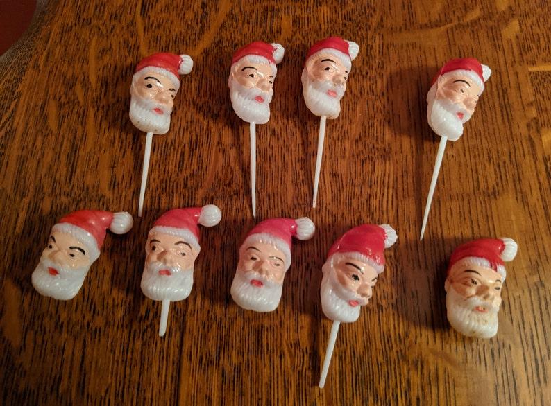 Set of 9 Vintage Santa Picks