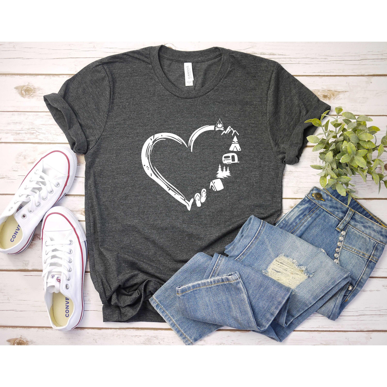 Лагерь Lover Рубашка, Кемпинг Рубашка, Кемпинг Сердце Рубашка, Симпатичные Походы Рубашка, Приключения Рубашка, Кампер Рубашка, Подарок для нее