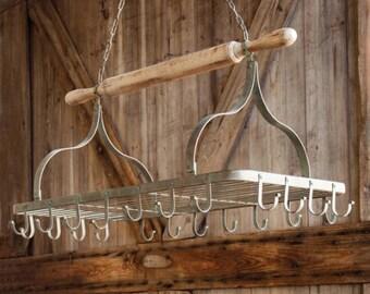 Farmhouse Rolling Pin Pot Rack | Country Farmhouse Pot Rack | Vintage Rustic Inspired Kitchen Pot Rack