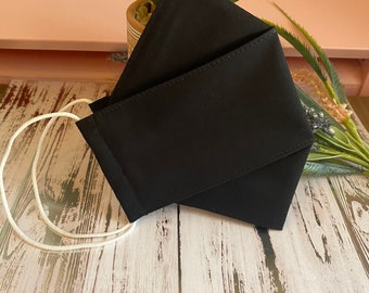 Solid Black 3D Face Mask, 2-3 layers, 100% cotton, soft stretchy elastic loops, all sizes available