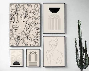 Wall Art Set of 5, Abstract Boho Art Set of 5 Prints, Mid Century Wall Line Art Print Set, Bohemian Terracotta Wall Decor Art Print Set