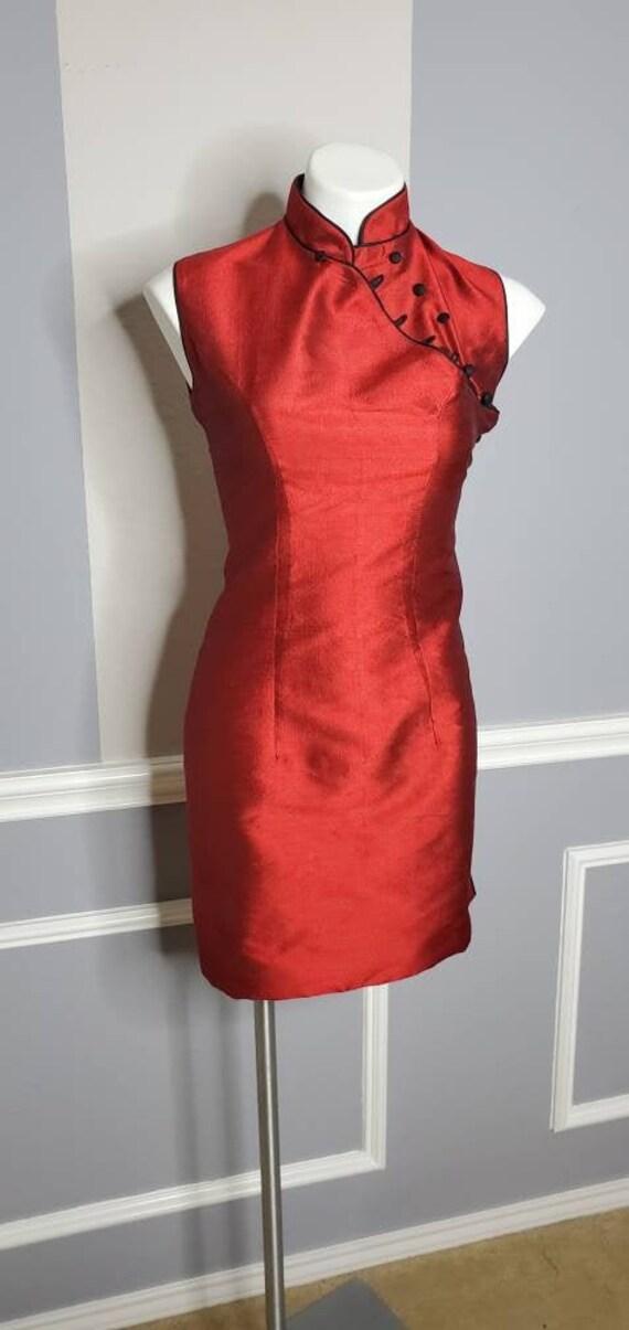 Vintage Cheongsam Dress, 1960s Silk Dress, Black C