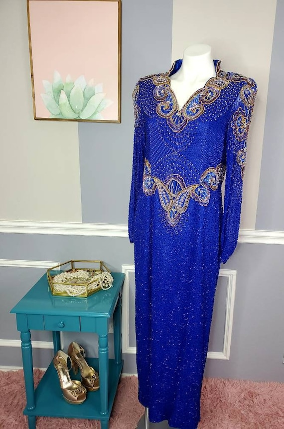 Vintage Beaded Gown, Beaded Prom Dress, Winter For