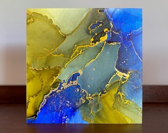 "Alcohol Ink Painting ""Retrograde"" Fluid Art Modern Original Wall Hanging Office Desk Living Room Shelf Home Decor Gift Commission Rainbow"