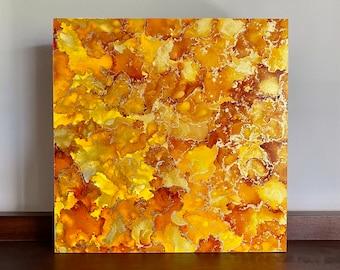 Orange Yellow Gold Alcohol Ink Painting Fluid Art Modern Original Wall Hanging  Office Desk Living Room Shelf Home Decor Gift Commission