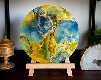 "Alcohol Ink ""Galileo"" Fluid Art Original Circular Round Painting Planet Astronomy Space Theme Nursery Baby Boy Pluto 10"" Circle Wood Birch"