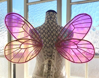 Pink veining with iridescent colours butterfly fairy wings large adult size